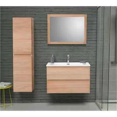 Ensemble salle de bain en bois chêne massif Graphika - Simple vasque, L 80 cm avec miroir