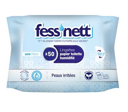 2 Pack de 12 Sachets de 50 lingettes papier toilette humidifié - Peaux irritées