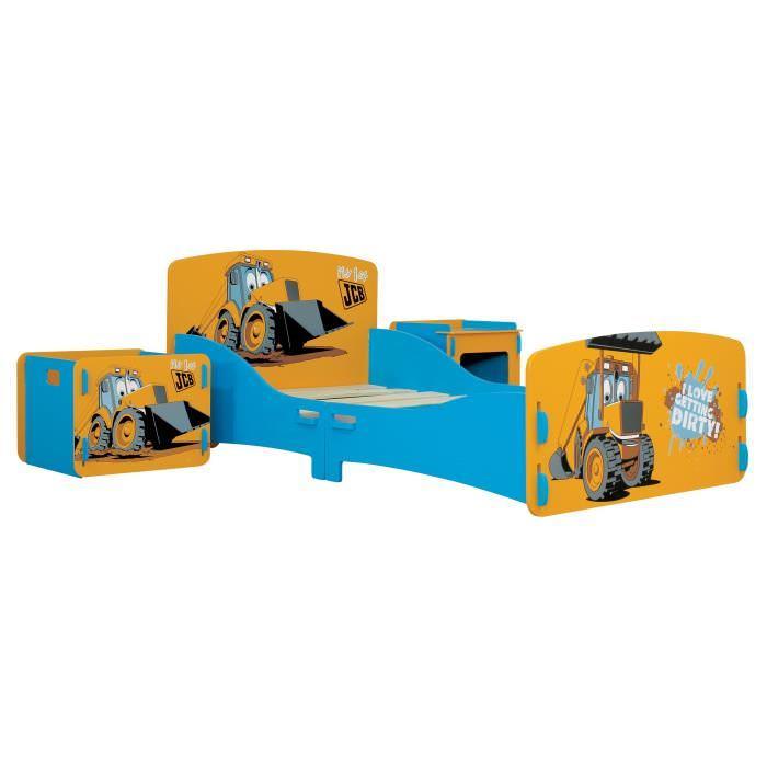 Ensemble lit JCB avec sommier pour Enfant + coffre + chevet contemporain laqué jaune et bleu - l 85 x L 176 cm