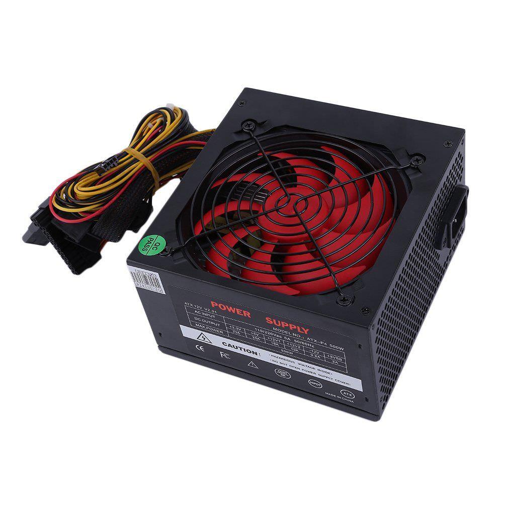 Alimentation pour PC W ATX 500W (Max 750W) - Ventilateur de 120 mm