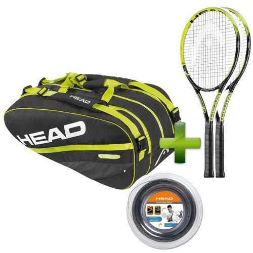 2 Raquettes de tennis Head Youtek IG Extreme MP 2.0 + Sac Extreme Combi + Bobine Sonic Pro Edge