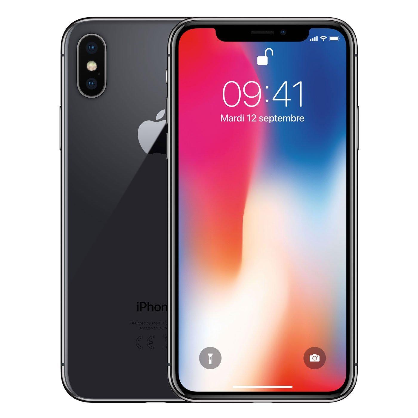 "Smartphone 5.8"" Apple iPhone X - 64 Go, Blanc ou Noir"
