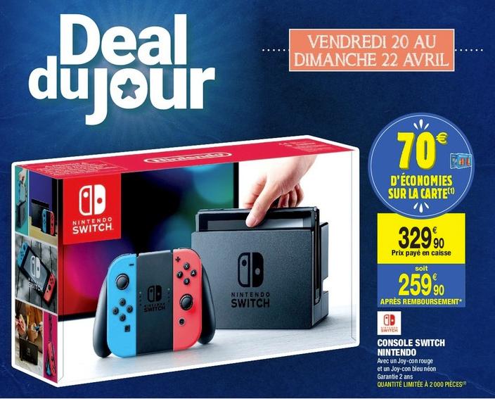 Console Nintendo Switch - Joy-con Rouge + Joy-con Bleu Néon (Via 70€ sur la Carte de Fidélité)
