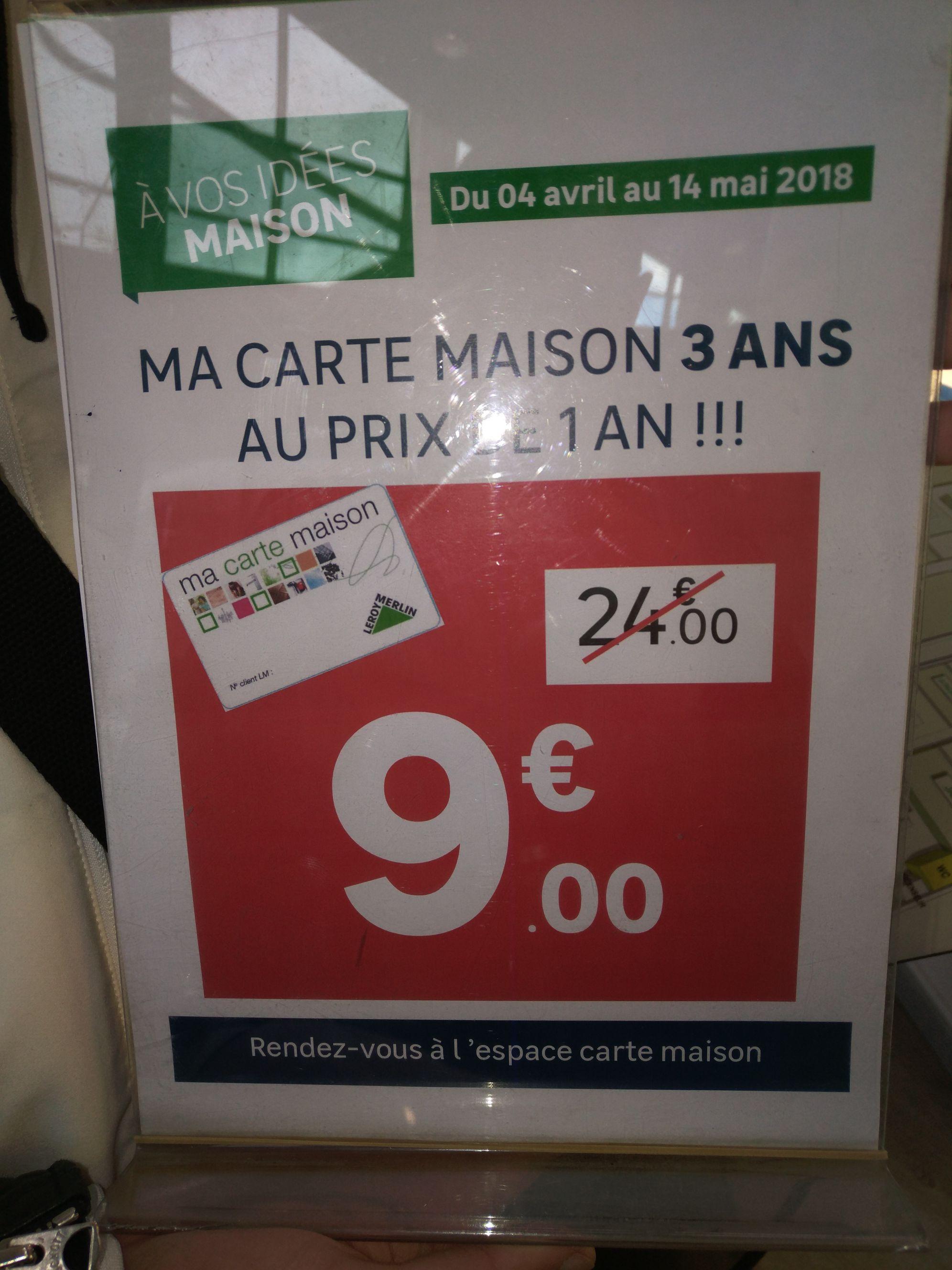 Carte Maison 3 ans - Leroy Merlin Saint Denis- Stade de France (93)