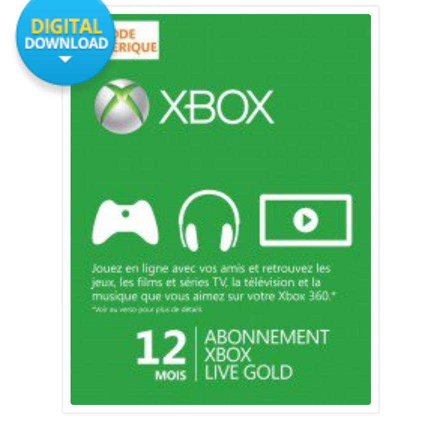 Abonnement 12 mois Xbox Live Gold (Dématérialisé)