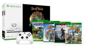 Pack Aventure Console Microsoft Xbox One S (1 To) Sea of Thieves + 2ème Manette + Minecraft Explorers + Sunset Overdrive + Rise of the Tomb Raider + Super Lucky's Tale