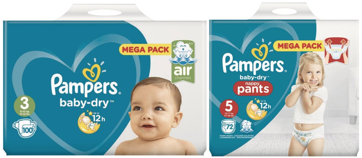 Mega Pack de Couches et Couches - Culottes Pampers Baby Dry - Tailles au choix (Via Carte de Fidélité + BDR)