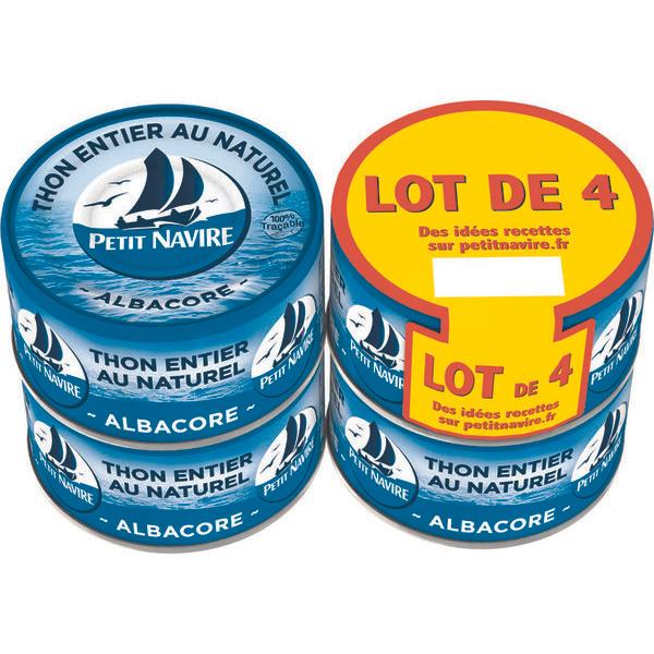 Lot de 4 boîtes Petit Navire Thon Entier au Naturel - 93g (Via 2.88€ sur la Carte fidélité + BDR de 1€)