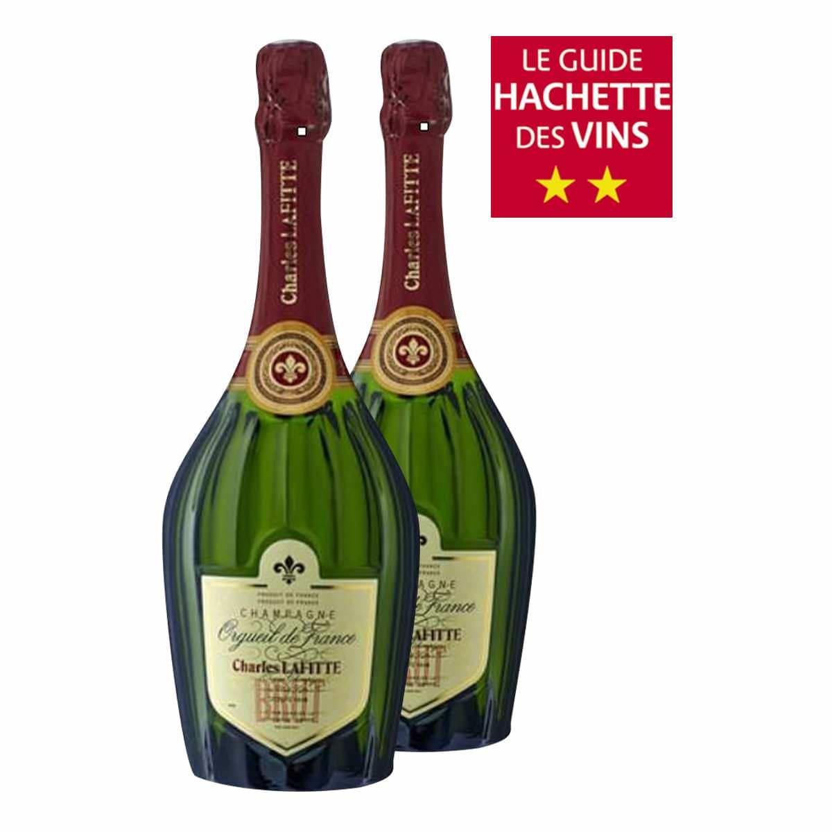 Lot de 2 Bouteilles de champagne Charles Lafitte Brut orgueil de France