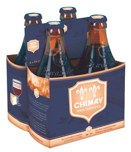 Pack de 4 bières Chimay - 4x33cl (bleue, rouge ou triple)