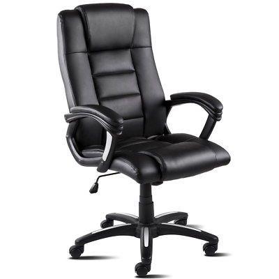 Chaise / Fauteuil de bureau pivotant en cuir synthétique McHaus - Noir