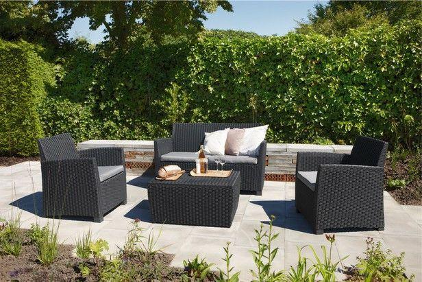 Salon de Jardin Allibert Corona - Canapé 2 Places + 2 Fauteuils + Table