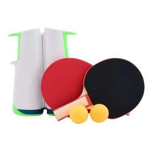 Filet de tennis de table adaptable Rollnet + 2 petites raquettes + 2 balles