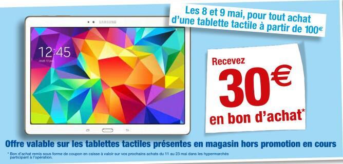 30€ offert en bon d'achat pour l'achat d'une tablette d'une valeur de 100€ minimum