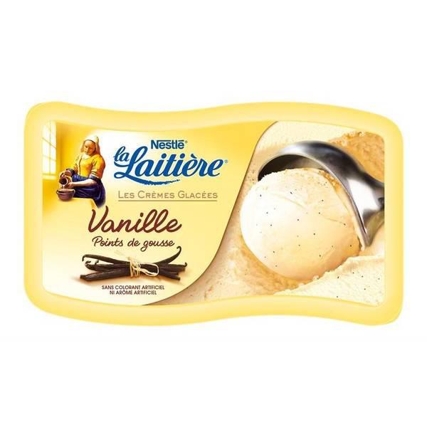 Bac de crème glacée vanille La Laitière 850ml (-40% immédiat + 1€ BDR)