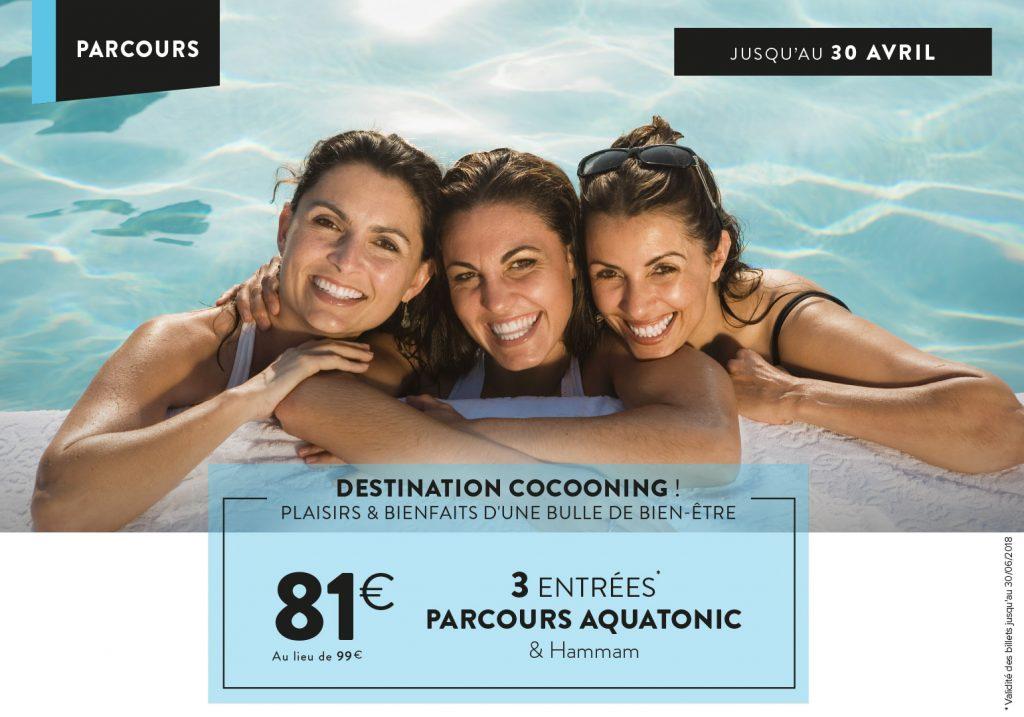 3 entrées à 81€ au lieu de 99€ pour le parcours Spa Aquatonic & hammam - Montévrain (77)