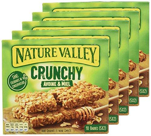 Lot de 5 Boîtes de Barres de Céréales Nature Valley Crunchy Avoine & Miel - 5 x 10