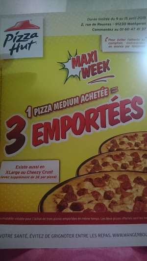Une pizza medium acheté = 2 pizzas medium offertes (à emporter) - Montgeron (91)