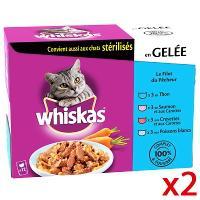 2 Lot de Whiskas sachets fraîcheur pour chat en gelée filet du pêcheur 4x100g ( BDR 2€ + C-Wallet )