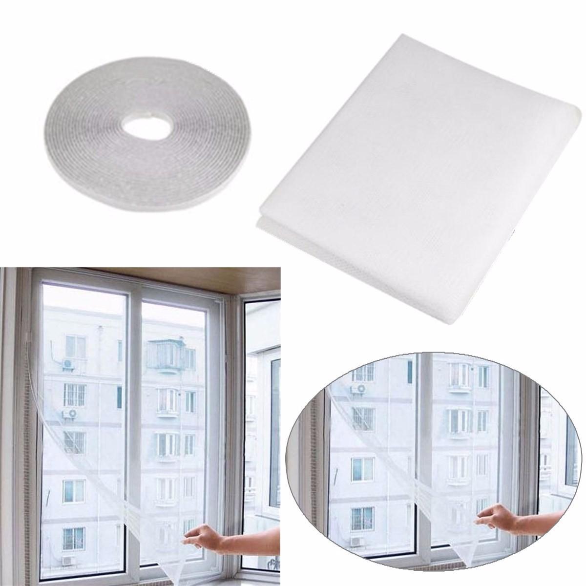 Moustiquaire pour fenêtre + bande adhésive Honana WX-318 - 130x155 cm, blanc
