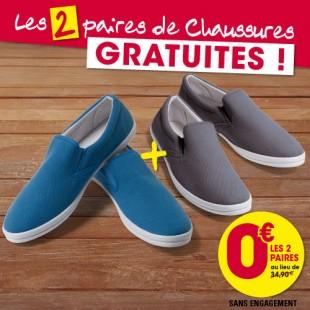 [Nouveaux clients] Lot de 2 paires de chaussures - bleu + gis, du 40 au 45, en toile (frais de port inclus)