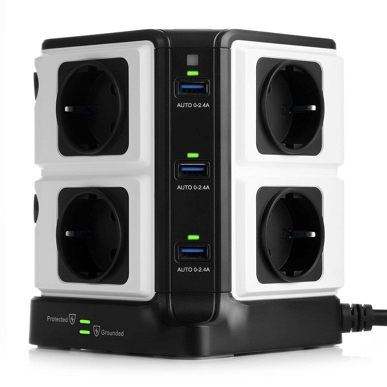 Multiprise-Parasurtenseur Bestek avec 8 Prises et 6 Ports USB 2,4A (Vendeur tiers)