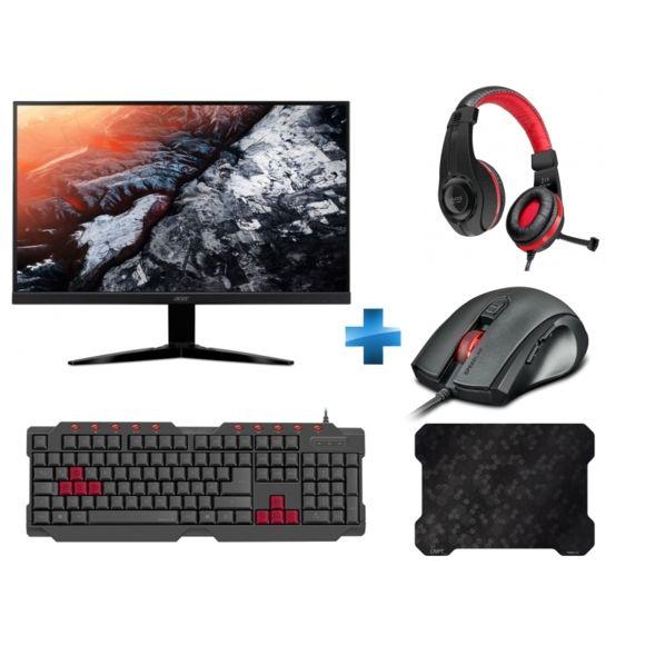 "Ecran 23.6""  AcerKG241Qbmiix (TN, Full HD, 1ms) + Tapis de souris Cript ultra-fin + Clavier Gaming Ferus + Souris Gaming Assero + Casque Gaming Legatos"