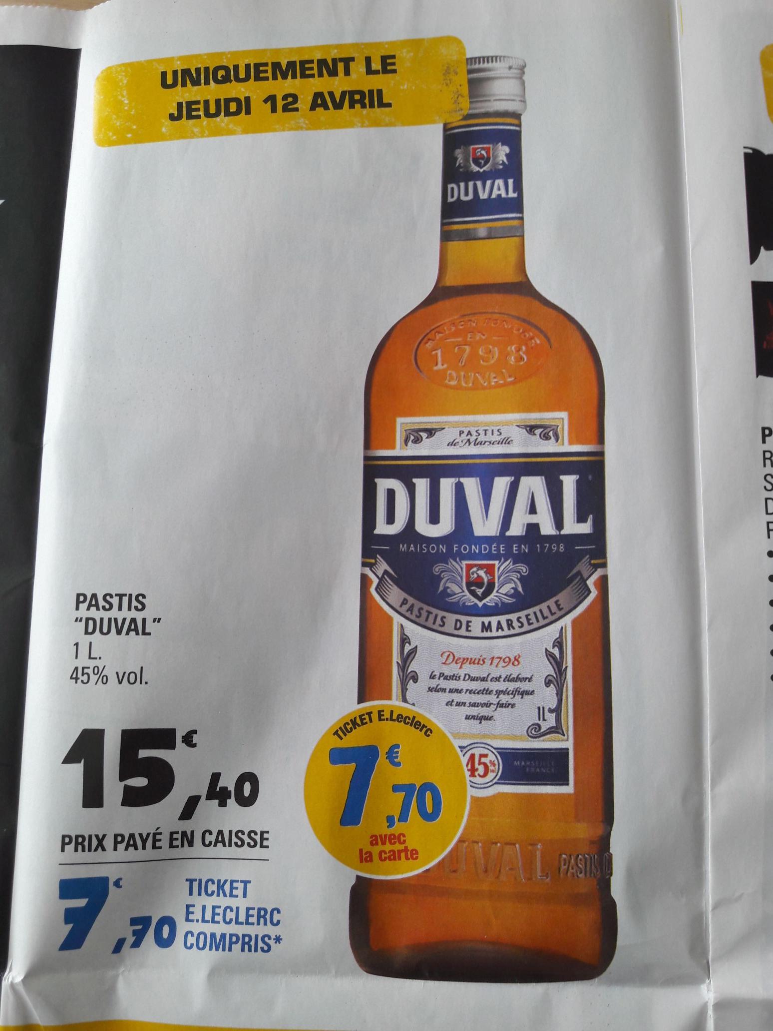 Sélection d'articles en promotion - Ex : Bouteille de Pastis Duval - 1L (via 7.70€ fidélité)