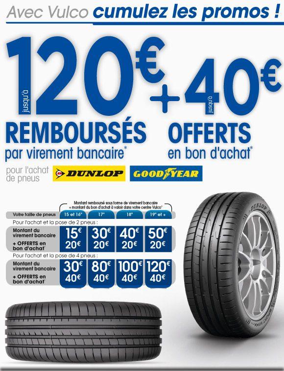 """Jusqu'à 120€ remboursé et 40€ en bon d'achat pour l'achat de pneus Dunlop ou Goodyear - Ex : 15€ remboursé + 20€ en bon d'achat pour l'achat de 2 pneus 15/16"""" (via ODR)"""