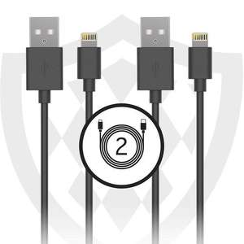 Lot de 2 câbles en KEVLAR Lightning Tek Essentials Certifié MFI - 1m, Noir