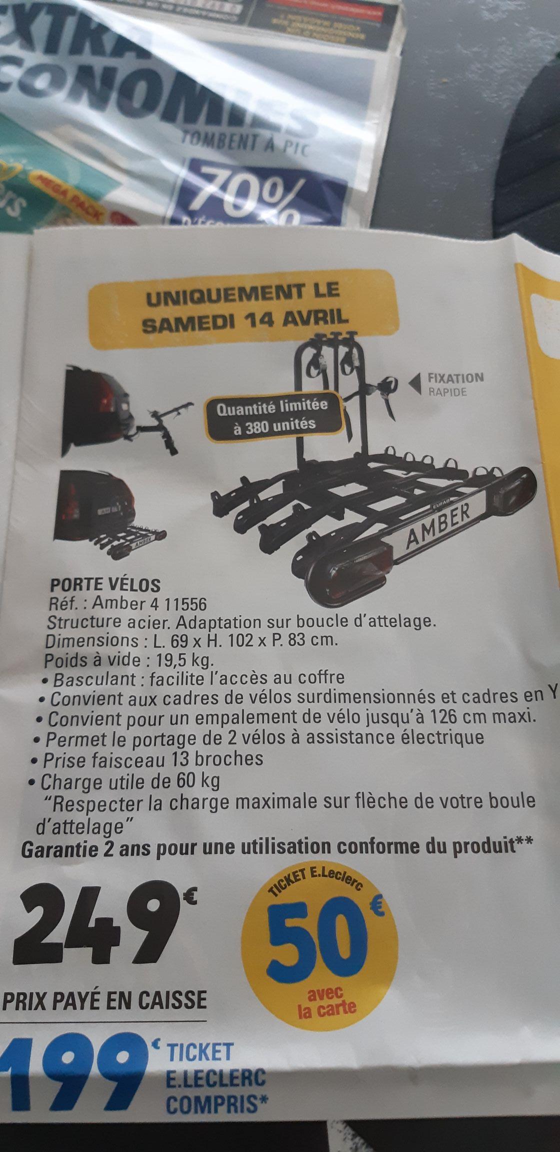 Porte vélo sur attelage basculant pour 4 vélos (via 50€ sur la carte fidélité) - (44)