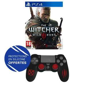 The Witcher 3 sur PS4 + Protections silicone Skin & Caps pour manette