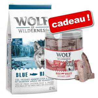 Sac de croquettes pour chien Wolf of Wilderness 12 Kg + 90g de friandises lyophilisées premium au foie de bœuf