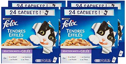 Pack de 4 Felix Tendres Effilés en Gelée Viandes-Poisson pour Chat Adultes - 24 x 100g (soit 9.6kg)