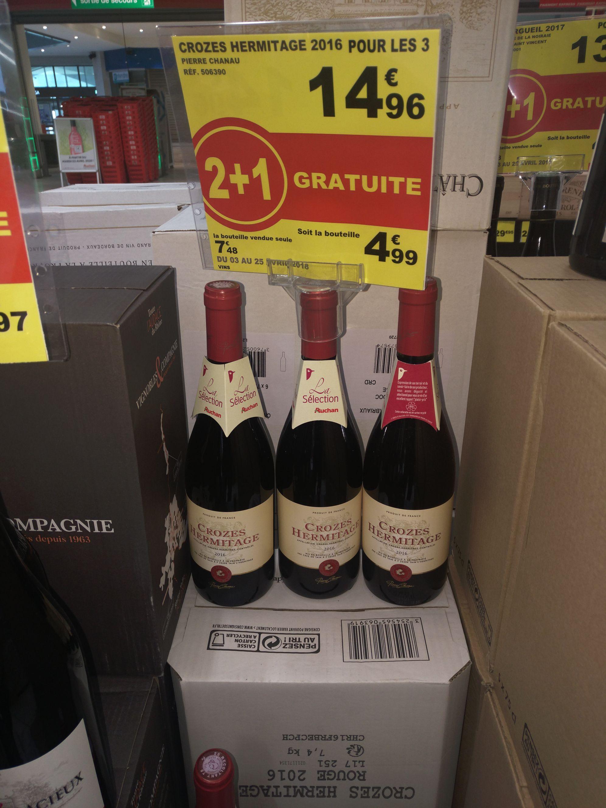 3 bouteilles de vin rouge Crozes Hermitage - Val d'Europe (77)