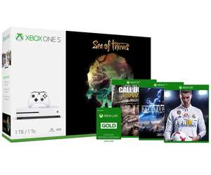 Pack Console Microsoft Xbox One S Sea of Thieves + 1 jeu au choix (parmi Call Of Duty WWII, FIFA 18 ou Star Wars : Battlefront II) + 12 mois de Xbox Live Gold