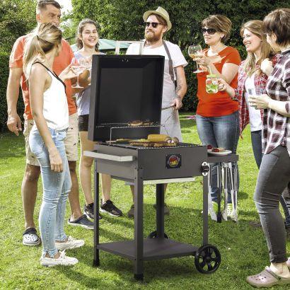 Barbecue charbon de bois avec tablette latérale rabattable - 94 x 70 x 93 cm