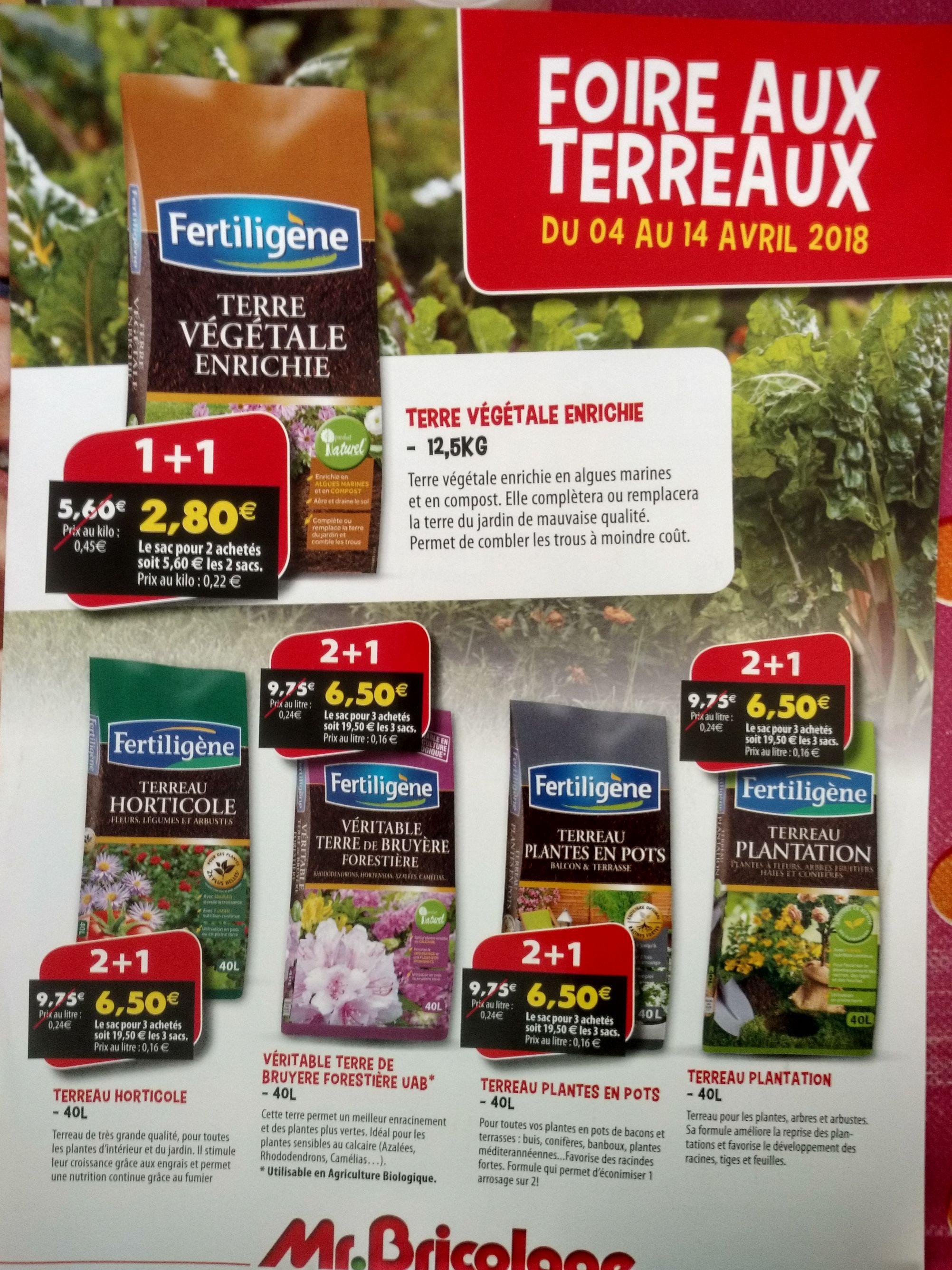Selection de terreaux en promotion, Ex: Terre Végétale enrichie - 12.5kg