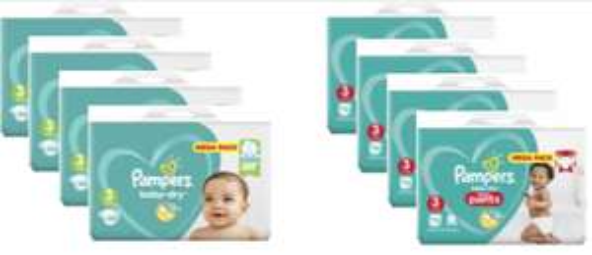 Sélection de Paquets de Couches Pampers en Promotion - Ex: Lot de 4 MegaPack BabyDry (Tailles au choix - Via Carte de Fidélité)