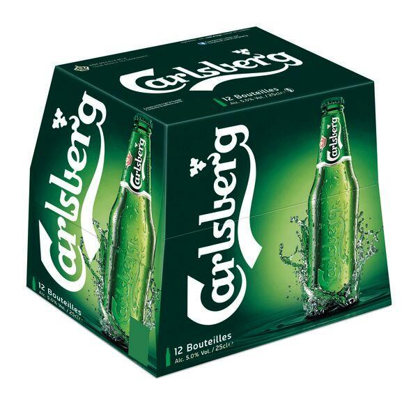 Pack de 12 bouteilles de bière Premium Carlsberg - 12×25cl (via 4,97€ sur la carte)