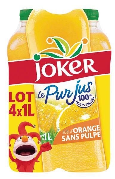 4 Bouteilles de jus d'orange Joker Le pur jus sans pulpe - 4x1L (via 3,78€ sur la carte)