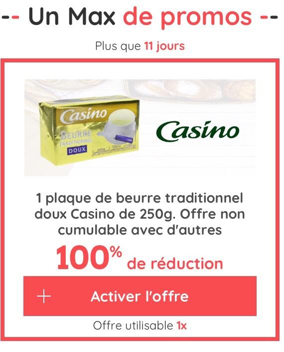 Beurre traditionnel doux casino 250g - 100% remboursé sur la carte de fidélité (via application casino Max)