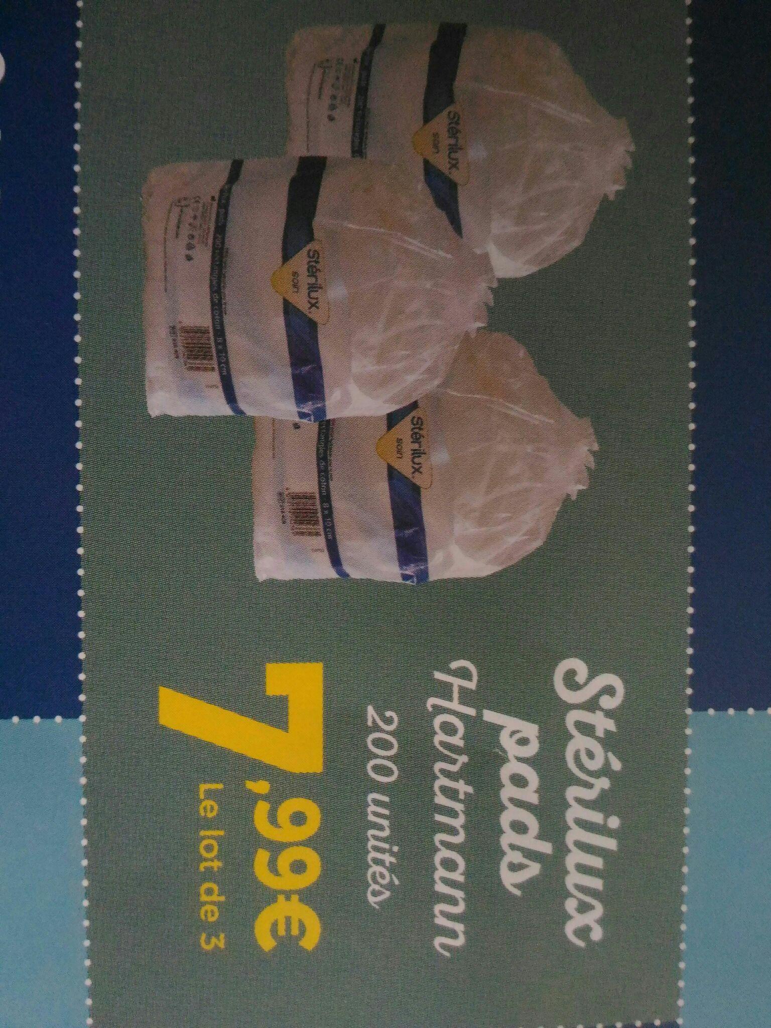 Lot de 3 paquets de 200 Cotopads Sterilux Hartmann - Pharmacie de la Gare à Nogent-sur-Marne (94)