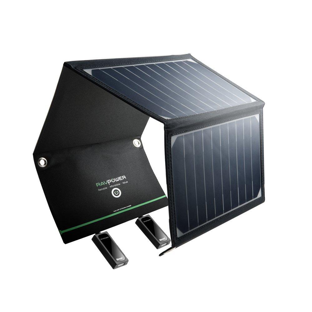 Chargeur Panneau Solaire RAVPower - 16W / 5V 3.2A, 2 Ports USB, Pliable, Imperméable avec 2 Câbles Micro-USB (vendeur tiers)