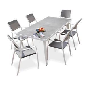 [Cdiscount à Volonté] Ensemble Table rectangulaire avec 6 fauteuils en métal et plateau en grès - 182x92x74cm - Blanc