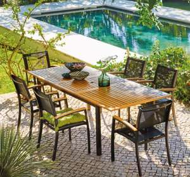 Salon de jardin en Aluminium et Eucalyptus - Table extensible + 6 Fauteuils