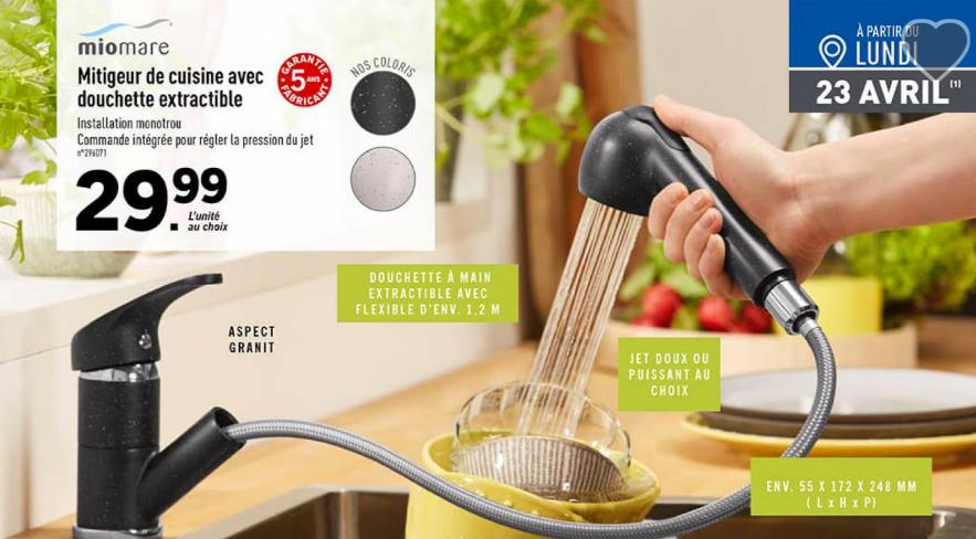 Mitigeur de cuisine avec douchette extractible