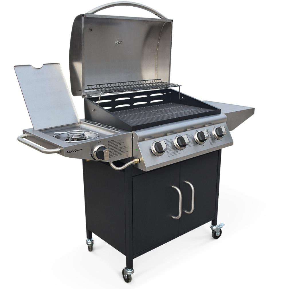 Barbecue au gaz 4 brûleurs Albert + feu latéral avec thermomètre - 16 kW (1140 g/h)