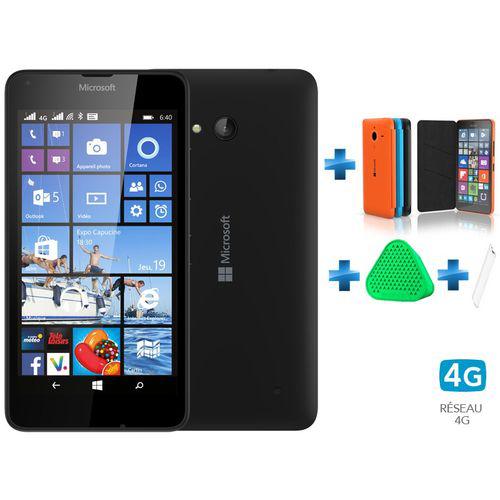 Smartphone Lumia 640 noir double Sim + étui noir + enceinte Coloud vert + chargeur voyage blanc