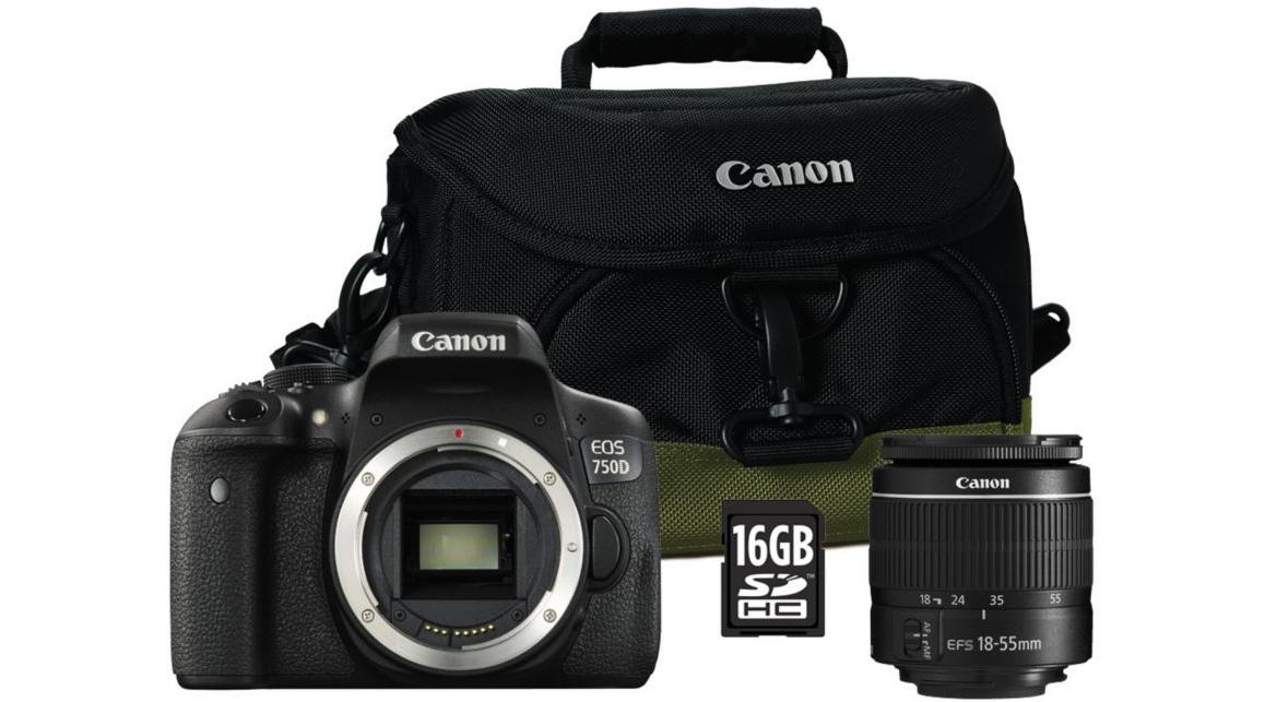 Appareil Photo Canon Reflex EOS 750D + 18-55 DC + Sacoche + Micro SD 16Go